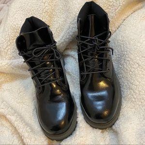 Timberland patent black combat boot 6